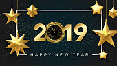 Happy New Year 2019 shiny poster with golden clock and stars.