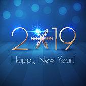 Happy New Year 2019 text design