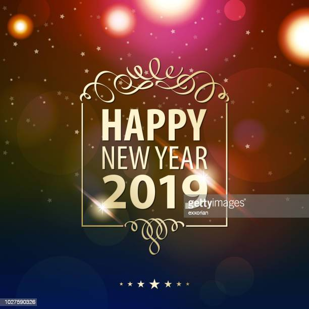happy new year 2019 - sparks stock illustrations, clip art, cartoons, & icons