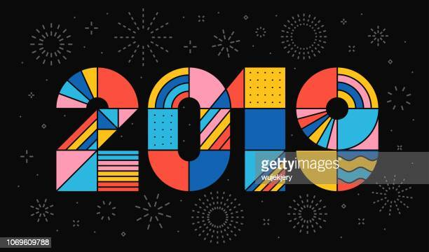 happy new year 2019. - 2019 stock illustrations