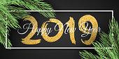 Happy New Year 2019. White frame. Christmas tree. Web banner for your advertising design. Vector illustration. EPS 10