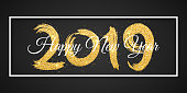 Happy New Year 2019. White frame. Golden grunge brush with golden glitters. Web banner for your advertising design. Vector illustration. EPS 10