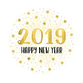Happy new year 2019 with golden fireworks