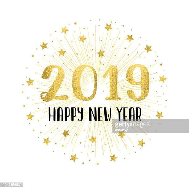 happy new year 2019 with golden fireworks - white background stock illustrations