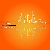 Happy new year 2019 with with an Abstract City Skyline with Loading Bar. Vector