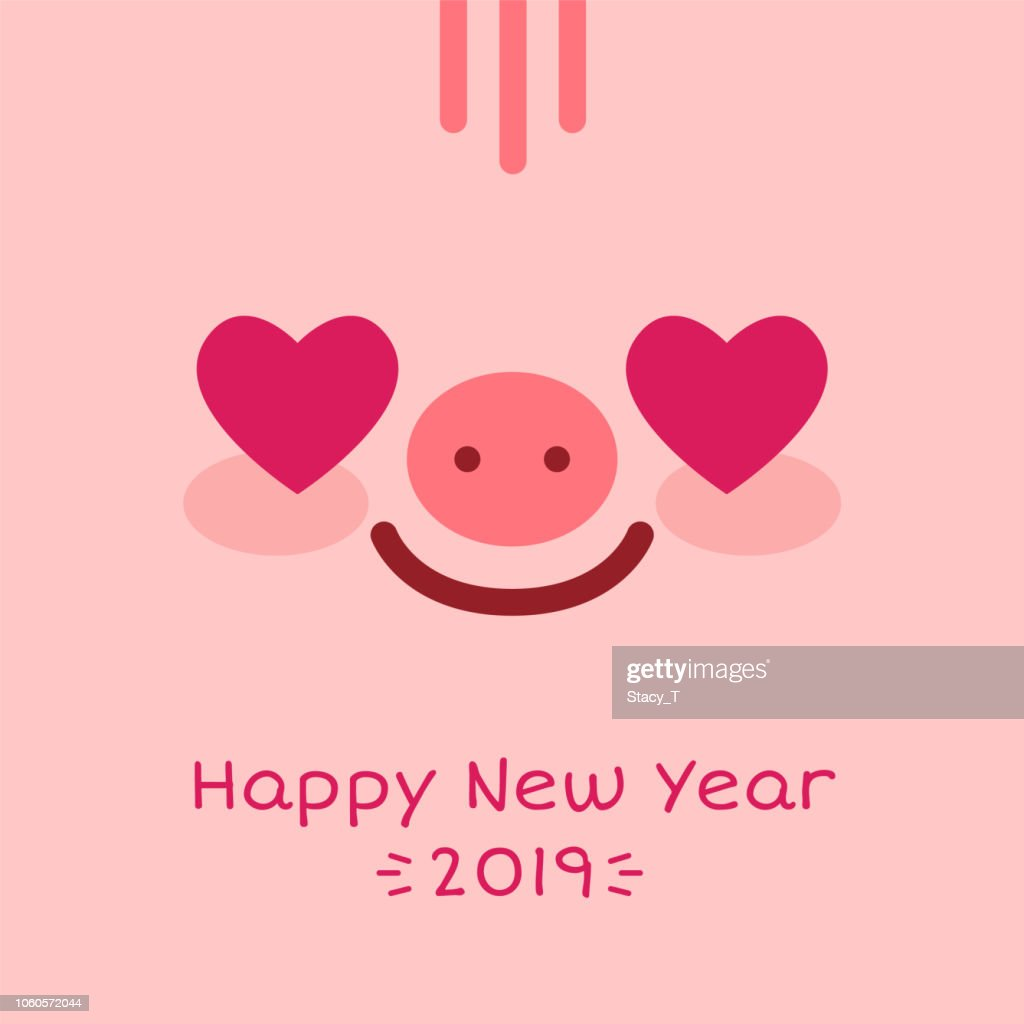Happy New Year 2019 zodiac pig sign character face on pink background,greeting card banner concept.Smiling adorable charming mascot piglet with love heart eyes,wish postcard