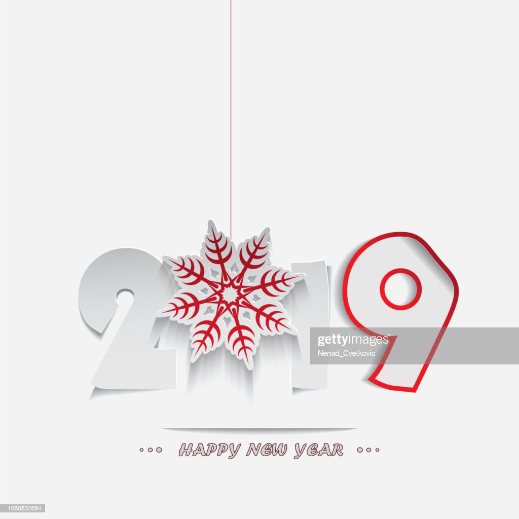 Happy New Year 2019,cutout stylized numbers and snowflake isolated on white background