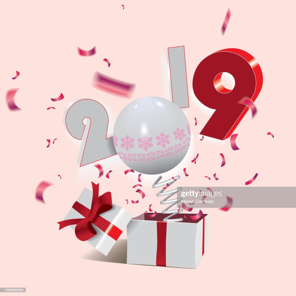 Happy New Year 2019,surprising box with a numbers and red confetti jumping out like a jack in the box isolated on the light background