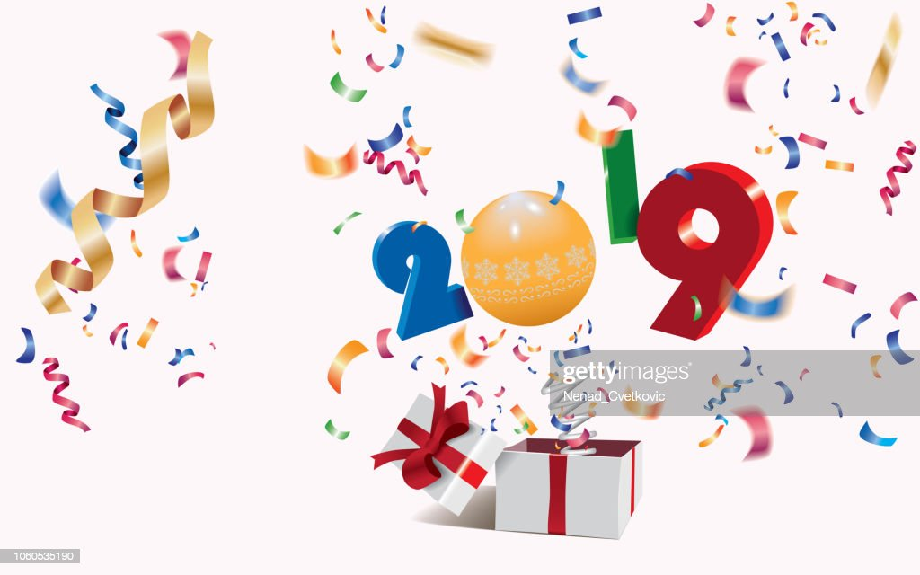 Happy New Year 2019,surprising box with numbers and colorful confetti jumping out like a jack in the box