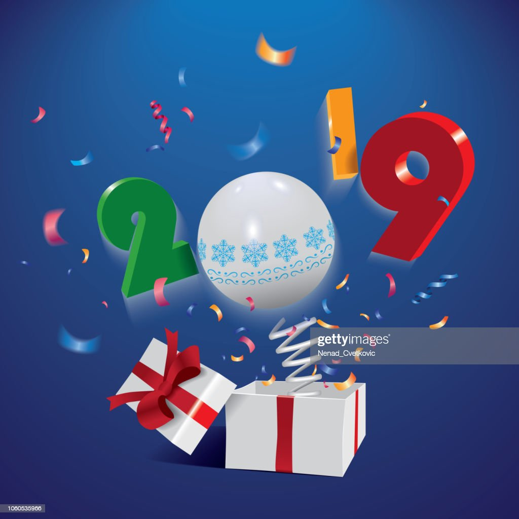 Happy New Year 2019,surprising box with year and colorful confetti jumping out like a jack in the box isolated on the blue background