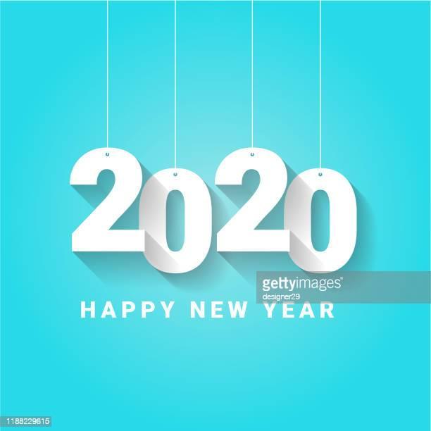 illustrazioni stock, clip art, cartoni animati e icone di tendenza di buon anno 2020 e shadow vector design. - 2020