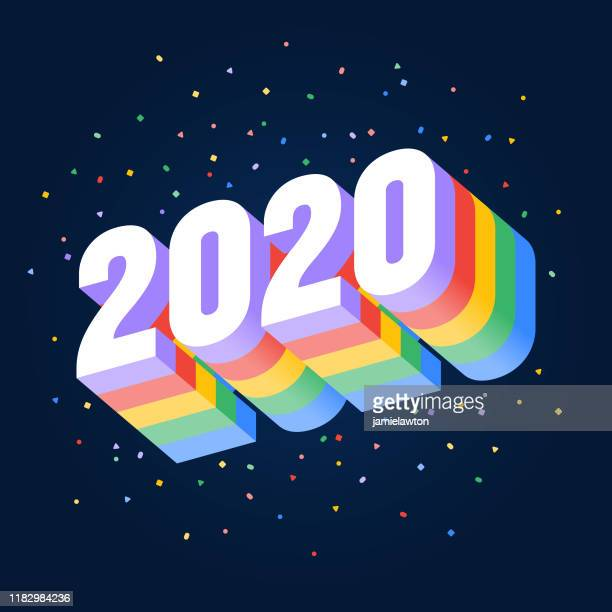 happy new year 2020, brightly coloured 3d numbers on a dark background - 2020 stock illustrations