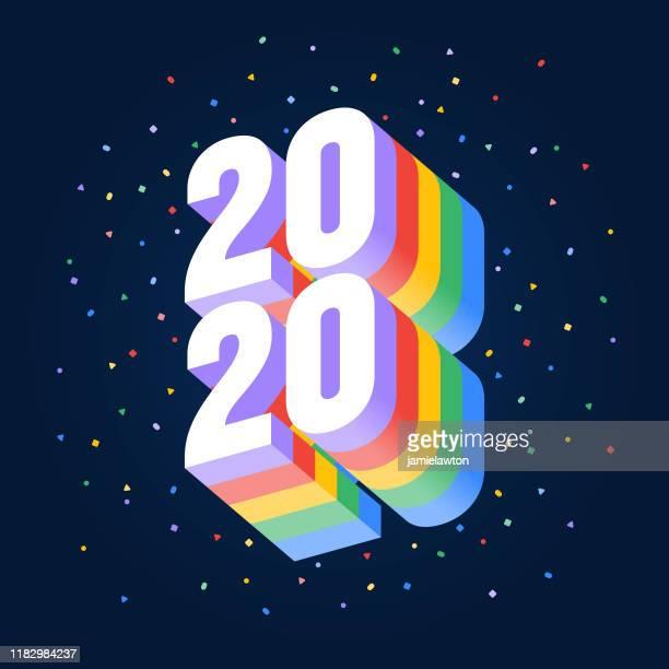 ハッピーニューイヤー2020、暗い背景に明るい色の3d番号 - 数字の20点のイラスト素材/クリップアート素材/マンガ素材/アイコン素材