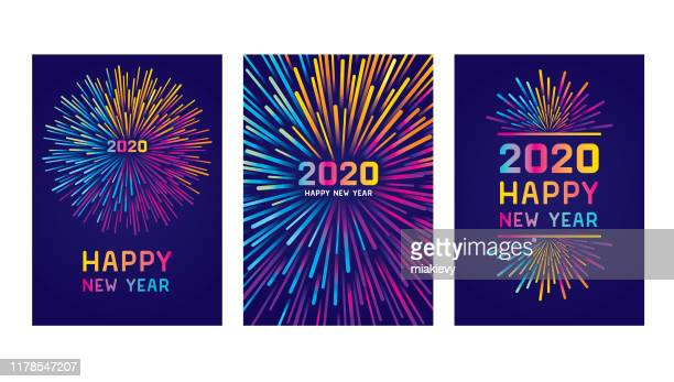 happy new year 2020 card set - exploding stock illustrations