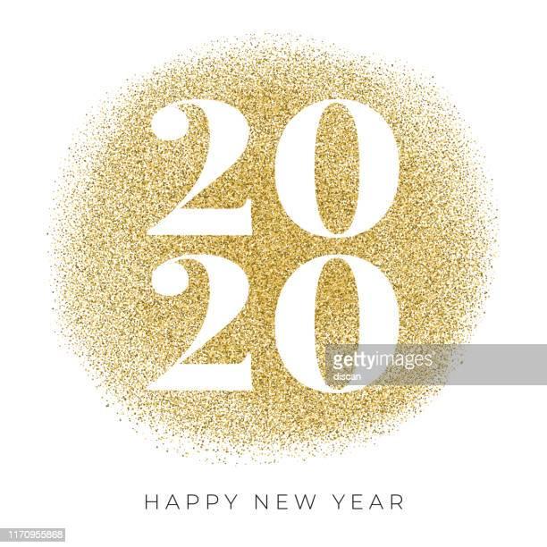 frohes neues jahr 2020 karte mit goldenen glitzer. - 2020 stock-grafiken, -clipart, -cartoons und -symbole