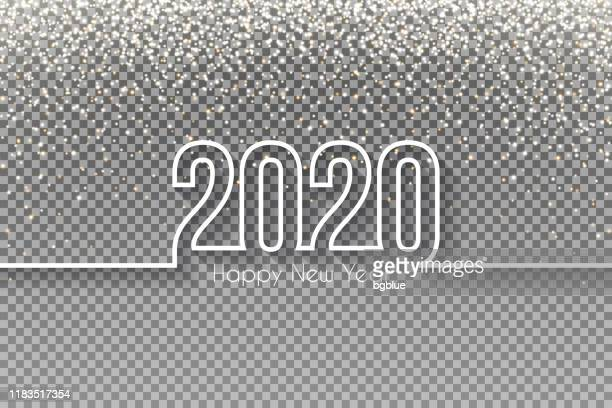 happy new year 2020 design with gold glitter - blank background - sequin stock illustrations
