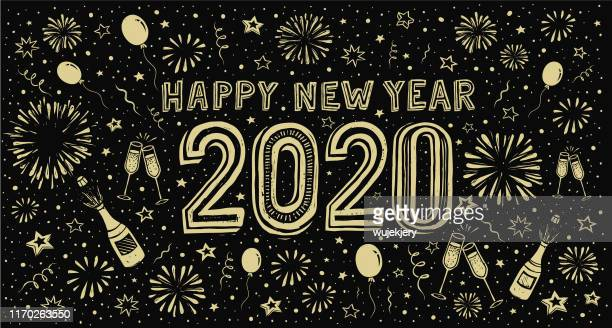 happy new year 2020. doodle new year's eve greeting card - 2020 stock illustrations