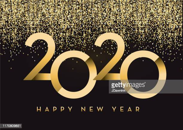 happy new year 2020 greeting card banner design in gold and glitter with text - new year's eve stock illustrations