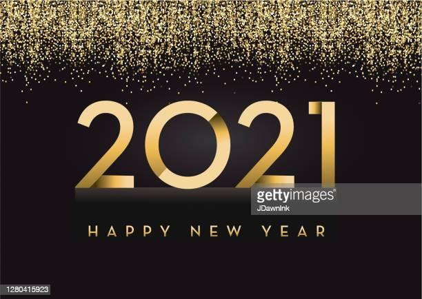 illustrazioni stock, clip art, cartoni animati e icone di tendenza di buon anno 2020 biglietto d'auguri banner design in oro e glitter con testo - 2021