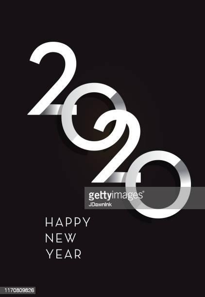 frohes neues jahr 2020 grußkarte banner design in silber mit text - 2020 stock-grafiken, -clipart, -cartoons und -symbole