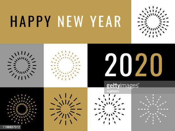 happy new year 2020 greeting card with fireworks - 2020 stock illustrations