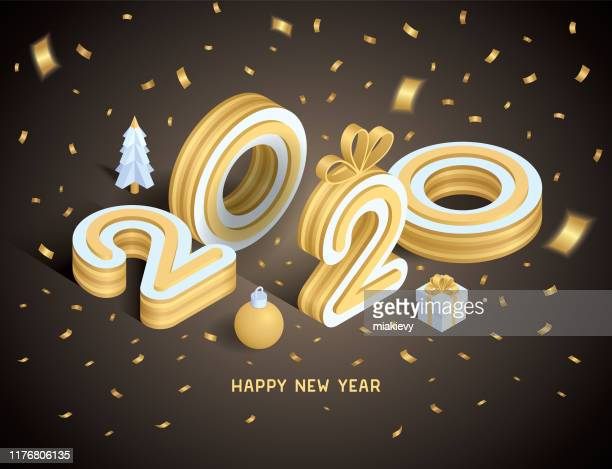 happy new year 2020 isometric card - new year card stock illustrations
