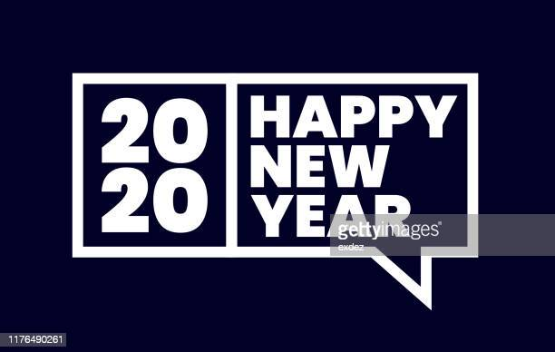 happy new year 2020 - new year's eve stock illustrations