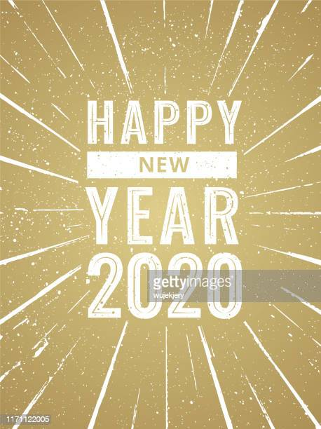 happy new year 2020 - vintage, retro design, typography, greeting card - happy new month stock illustrations