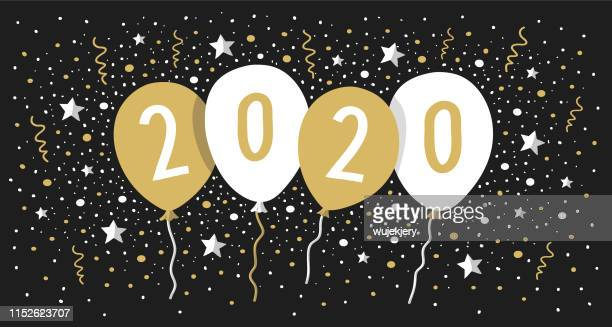 happy new year 2020 with balloons. gold colored. - joy stock illustrations