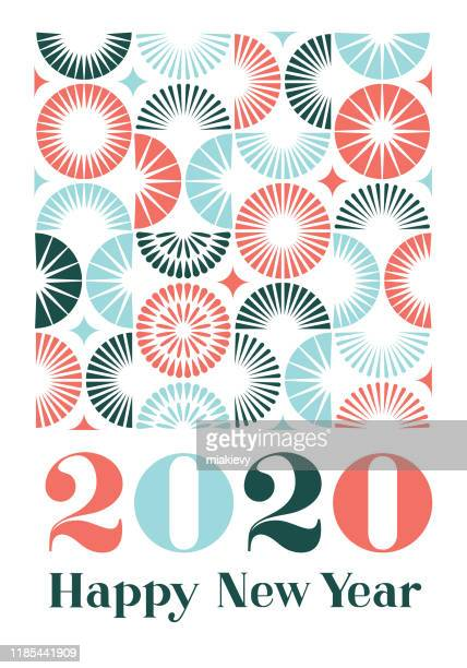 happy new year 2020 with fireworks pattern - slovenia stock illustrations