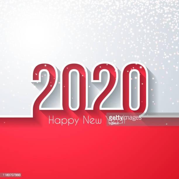 stockillustraties, clipart, cartoons en iconen met gelukkig nieuwjaar 2020 met gouden glitter-witte achtergrond - nieuwjaar