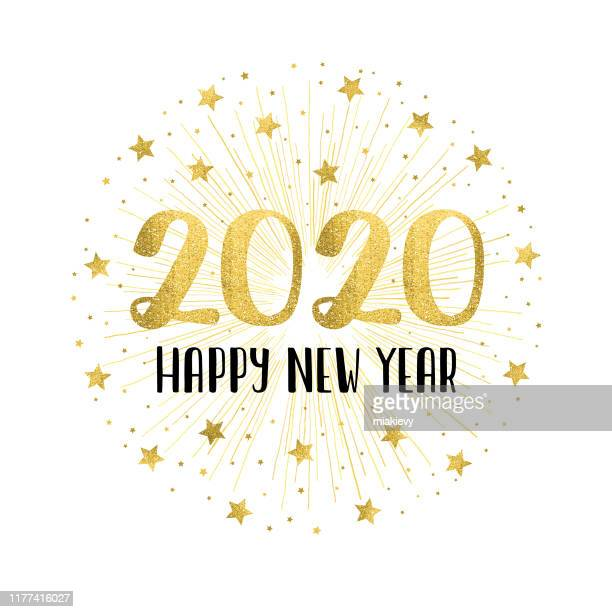 happy new year 2020 with golden fireworks - 2020 stock illustrations