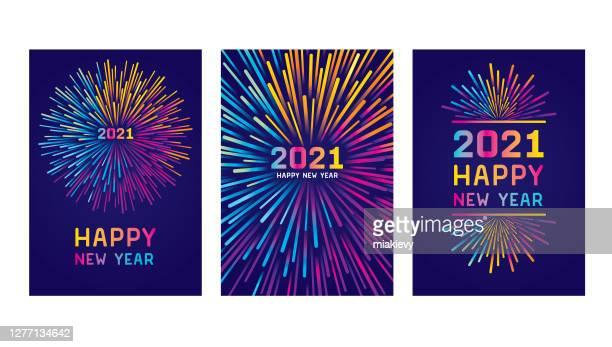 ilustraciones, imágenes clip art, dibujos animados e iconos de stock de feliz juego de cartas del año nuevo 2021 - grupo de objetos