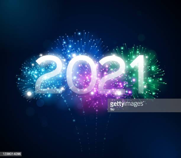 happy new year 2021 fireworks display - new year's eve stock illustrations