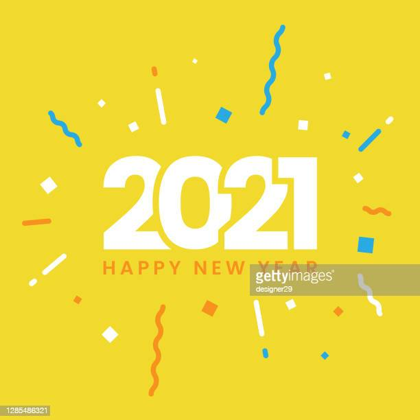 happy new year 2021 flat design. - celebration stock illustrations