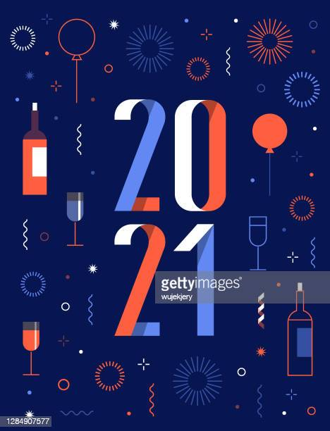 happy new year 2021 greeting card with fireworks - 2021 stock illustrations