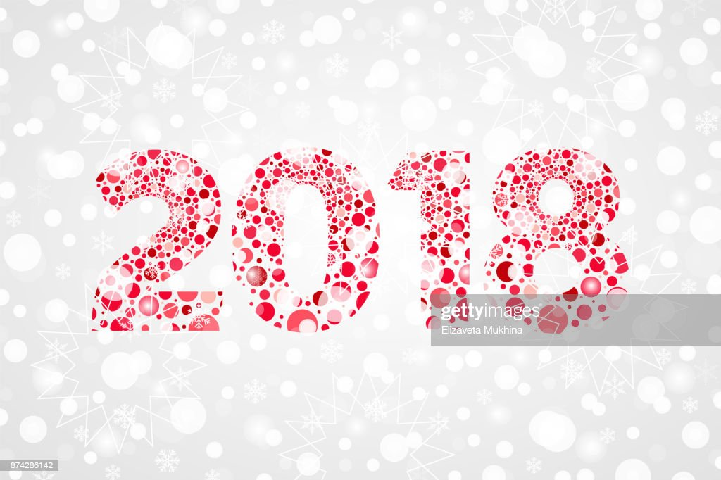 2018 Happy New Year Abstract Bubbles Vector Illustration Winter