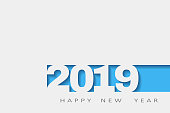 2019 happy new year, abstract design 3d, Vector white paper. vector illustration