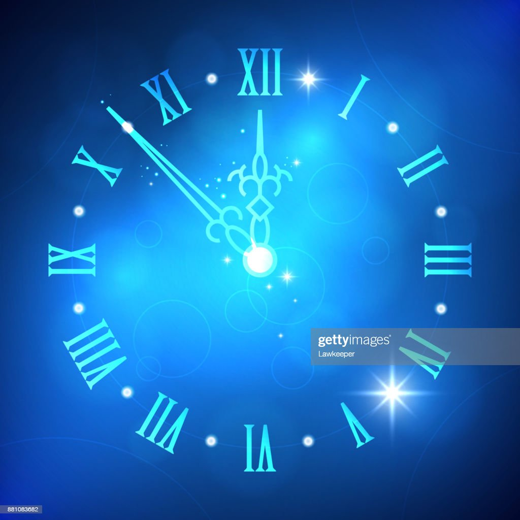 Happy New Year abstract light background with clock