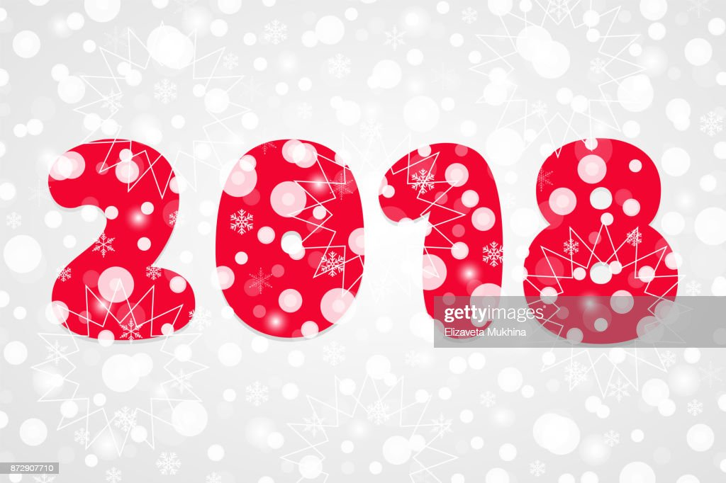 2018 Happy New Year Abstract Vector Illustration Winter Holiday Snow