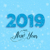 Happy New Year and Merry Christmas. 2019 New Year blue background with snow.