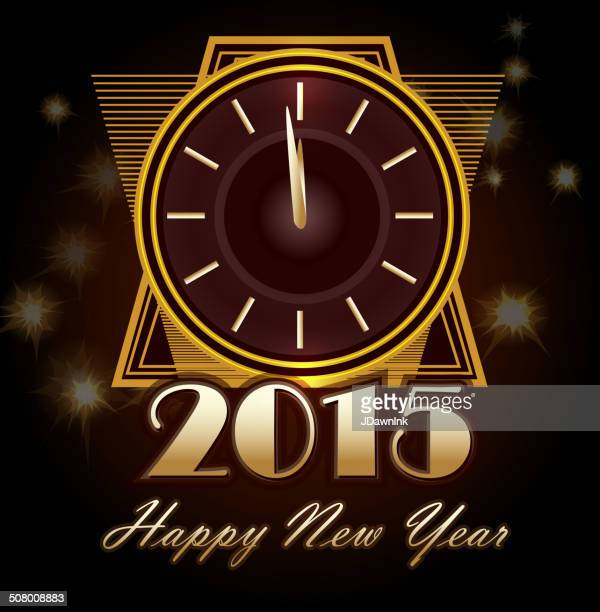happy new year art deco clock greeting design template - gatsby image stock illustrations
