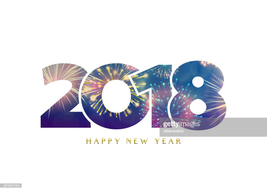 2018 happy new year background. Fireworks numbers
