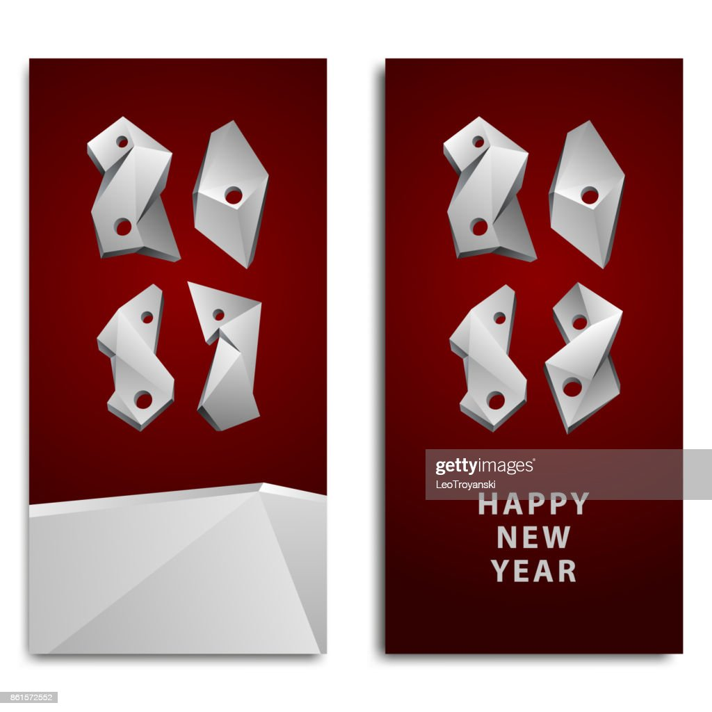 Happy New Year background for the invitation. Abstract 2018 polygonal numbers for the calendar.