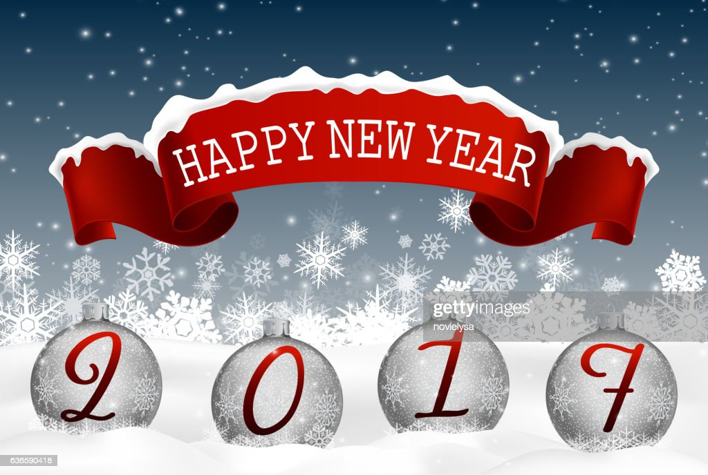 happy new year background with balls and red ribbon vector art