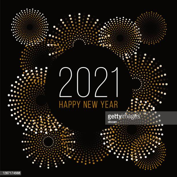 happy new year background with fireworks. - 2021 stock illustrations