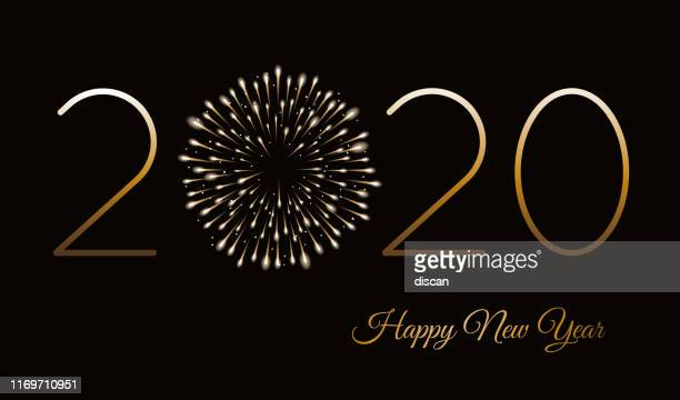 happy new year background with fireworks. winter holiday design template. - 2020 stock illustrations