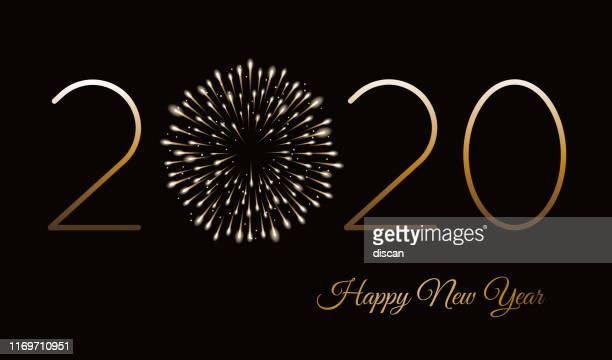 stockillustraties, clipart, cartoons en iconen met happy new year achtergrond met vuurwerk. winter vakantie design sjabloon. - nieuwjaar