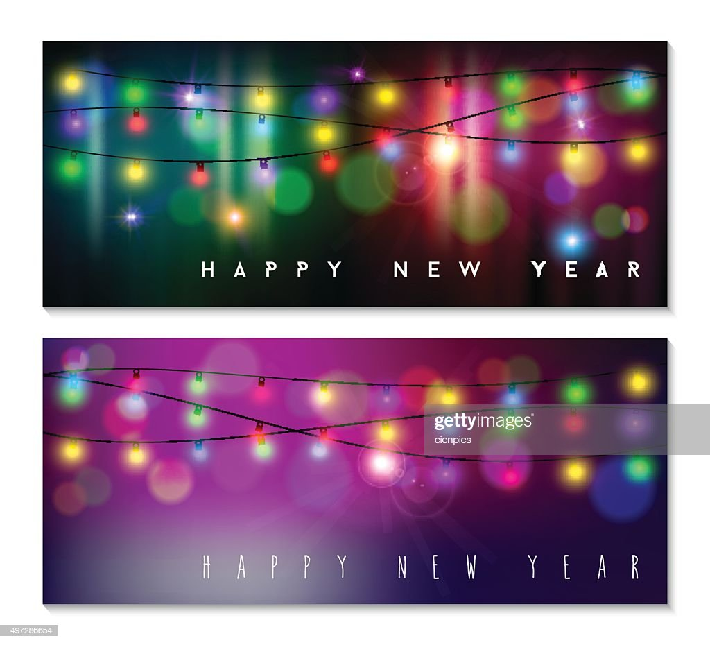 Happy new year banner set light bokeh blur holiday