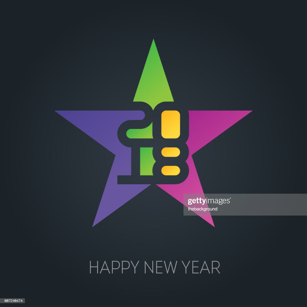 happy new year banner with 2018 numbers on colorful star vector background vector brochure